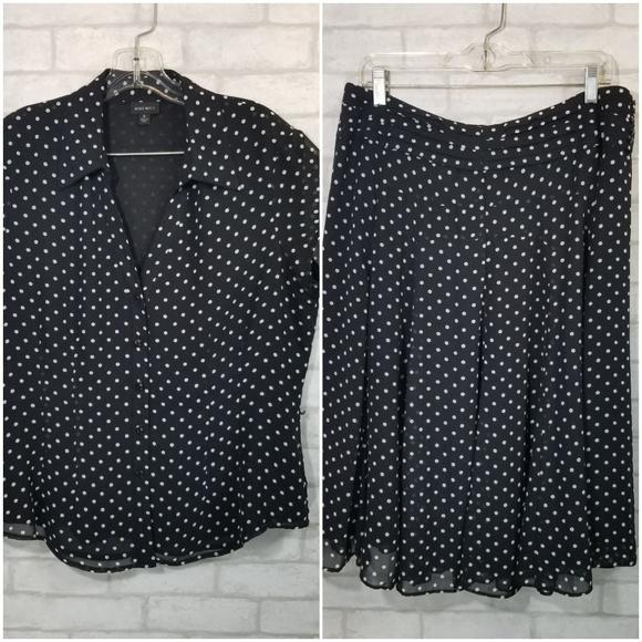 Nine West Dresses & Skirts - Nine west blouse/skirt set size 14 polka dots